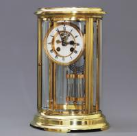 Oval Four Glass Mantle Clock with Visible Escapement by S Marti C.1895