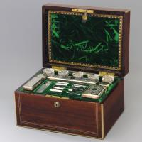 Brass Mounted Rosewood Ladies' Dressing Jewellery Box by Austins of Dublin C.1850