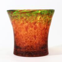 Monart Art Deco Tangerine & Lime Waisted Glass Vase with Aventurine c.1935