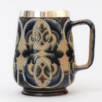 Doulton Lambeth 1880 Decorated Mug with Mappin & Webb Silver Mount 1881