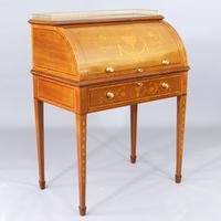 Fiddleback Mahogany and Satinwood Marquetry Inlaid Cylinder Top Desk c.1900