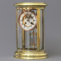 Oval Four Glass Mantel Clock by S Marti Signed J Neill & Co Paris C.1875
