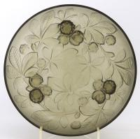 Large Verlys Smoked Glass Bowl with Horse-Chestnut Decoration c.1930