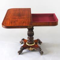 Regency Rosewood Foldover Pedestal Tea Table with Gilt Mounts c.1815 (5 of 8)