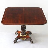 Regency Rosewood Foldover Pedestal Tea Table with Gilt Mounts c.1815 (4 of 8)