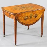 George III Satinwood & Kingwood Polychrome Painted Oval Pembroke Table C.1790