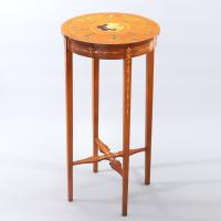 Edwardian Polychrome Painted Satinwood Small Occasional / Wine Table C.1905