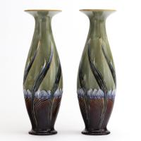 Tall Mirrored Pair of Royal Doulton Secessionist Vases by Eliza Simmance c.1903