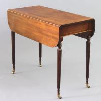 Georgian Figured Mahogany Pembroke Table with Reeded Legs c.1820