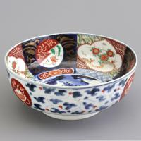 Meiji Period Japanese Imari Footed Bowl with Blue Fuku Mark c.1890