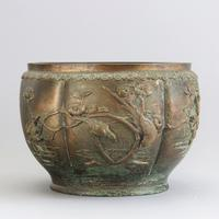 Large Japanese Bronze Jardiniere Decorated with Birds in Cherry Blossom c.1915