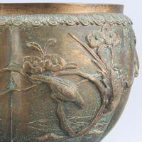 Large Japanese Bronze Jardiniere Decorated with Birds in Cherry Blossom c.1915 (10 of 10)