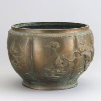 Large Japanese Bronze Jardiniere Decorated with Birds in Cherry Blossom c.1915 (9 of 10)