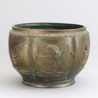 Large Japanese Bronze Jardiniere Decorated with Birds in Cherry Blossom c.1915 (8 of 10)