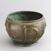 Large Japanese Bronze Jardiniere Decorated with Birds in Cherry Blossom c.1915 (3 of 10)
