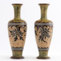 Pair of Doulton Lambeth Stoneware Art Nouveau Vases by Eliza Simmance c.1895