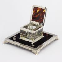 Art Deco Silver & Tortoiseshell Inkwell with Stand by Mappin & Webb 1929 (6 of 11)