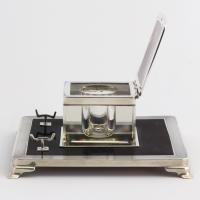 Art Deco Silver & Tortoiseshell Inkwell with Stand by Mappin & Webb 1929 (8 of 11)
