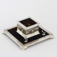 Art Deco Silver & Tortoiseshell Inkwell with Stand by Mappin & Webb 1929 (4 of 11)