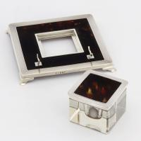 Art Deco Silver & Tortoiseshell Inkwell with Stand by Mappin & Webb 1929 (10 of 11)