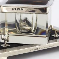 Art Deco Silver & Tortoiseshell Inkwell with Stand by Mappin & Webb 1929 (11 of 11)