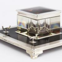 Art Deco Silver & Tortoiseshell Inkwell with Stand by Mappin & Webb 1929 (2 of 11)