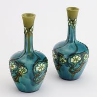 Pair of Minton Secessionist Tubeline Decorated Turquoise Vases C1900 (3 of 10)