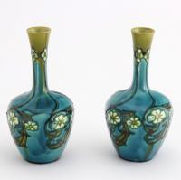 Pair of Minton Secessionist Tubeline Decorated Turquoise Vases C1900 (6 of 10)