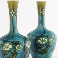 Pair of Minton Secessionist Tubeline Decorated Turquoise Vases C1900 (2 of 10)