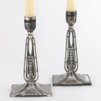 Pair of Wmf Antique Silver Plated Candlesticks in the Secessionist Style C1890 (3 of 10)