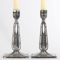 Pair of Wmf Antique Silver Plated Candlesticks in the Secessionist Style C1890
