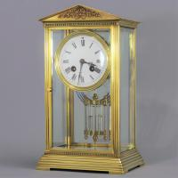 French Four Glass Brass Mantle Clock by Couaillet Freres C.1895 (4 of 12)