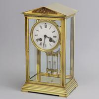 French Four Glass Brass Mantle Clock by Couaillet Freres C.1895 (11 of 12)