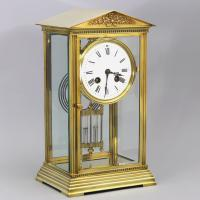 French Four Glass Brass Mantle Clock by Couaillet Freres C.1895 (10 of 12)