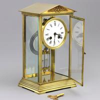 French Four Glass Brass Mantle Clock by Couaillet Freres C.1895 (9 of 12)