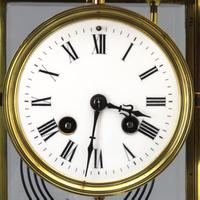 French Four Glass Brass Mantle Clock by Couaillet Freres C.1895 (8 of 12)