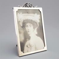 Antique Silver Rectangular Photo Frame with Ribbon Crest by Henry Williamson 1913