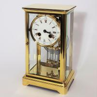 Brass Four Glass French Striking Mantle Clock C.1870 (4 of 11)