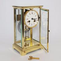 Brass Four Glass French Striking Mantle Clock C.1870 (5 of 11)