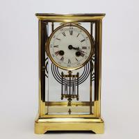 Brass Four Glass French Striking Mantle Clock C.1870 (2 of 11)