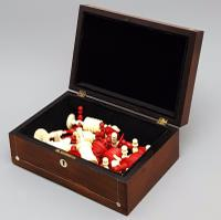19th Century Carved Bone Barleycorn Chess Set with Inlaid Rosewood Box (3 of 10)