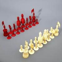 19th Century Carved Bone Barleycorn Chess Set with Inlaid Rosewood Box (8 of 10)