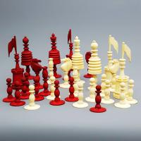 19th Century Carved Bone Barleycorn Chess Set with Inlaid Rosewood Box (9 of 10)