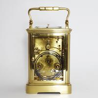 French Brass Corniche Cased Striking Repeating Carriage Clock C.1900 (7 of 11)