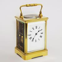 French Brass Corniche Cased Striking Repeating Carriage Clock C.1900 (4 of 11)
