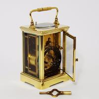 French Brass Corniche Cased Striking Repeating Carriage Clock C.1900 (9 of 11)