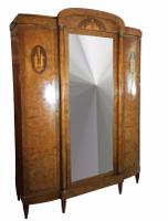 Antique 19th Century French Burr Walnut, Rosewood & Kingwood Armoire