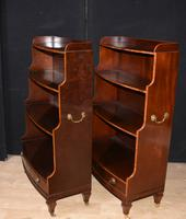 Pair of Bookcases Waterfall Open Front Antique