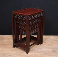 Chinese Hardwood Nest of Tables Carved Side Table