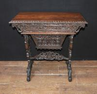 Antique Hand Carved Burmese Desk Writing Table c.1890